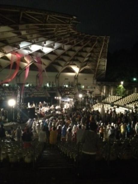 派手な結婚パーチーと、台風の野外ライブ。
